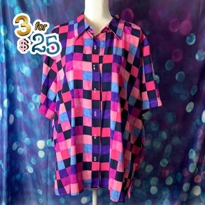 Notations colored checkbox shirt sleeve blouse